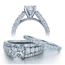 wedding ring sets for women certified 2 carat princess designer wedding ring set in white