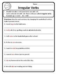 and present tense irregular verbs worksheet irregular verbs past
