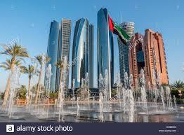 etihad towers modern buildings on the corniche in abu dhabi with