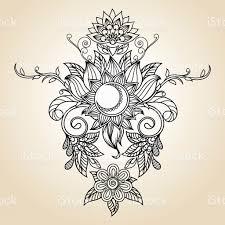 vintage ethnic pattern henna sun lotus flower and moon