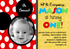 Mickey Mouse 1st Birthday Card Mickey Mouse 1st Birthday Invitations Personalized Tags Mickey