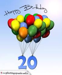 geburtstagssprüche 20 geburtstagskarte mit luftballons zum 20 geburtstag