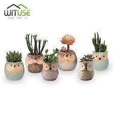 wituse 1pc cute owl ceramic plant pot decorative flower pot garden