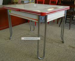 Vintage Enamel Top Kitchen Cabinet by Sale Red White Enamel Table C 1936 Deco Chrome Leaf Drawer Ingram