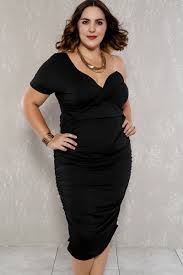 black ruched one shoulder ruched plus size party dress