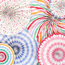 paper fan circle decorations paper fan galore striped polka dot pin wheel paper fans 6