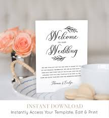 welcome to our wedding bags wedding itinerary agenda welcome bag template printable welcome