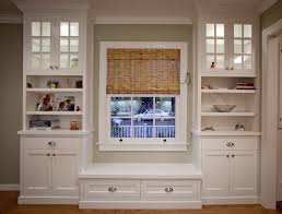 Open Shelves Under Cabinets Charming Bay Windows Design With White Color Accent Also Brown