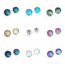 hypoallergenic earrings hypoallergenic earrings mermaid earrings 10mm medium stud