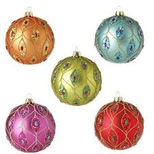 raz ornament delight 4 inch glittered ornaments set of 5
