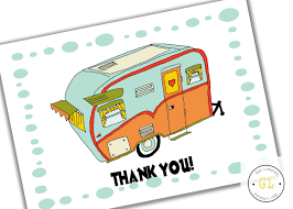 Retro Camper Retro Camper Vintage Camper Thank You Card Instant Download