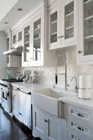 all white kitchen with mini subway tile backsplash home