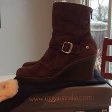 s gissella ugg boots ugg gissella suede wedge ankle boot in espresso warm booties from