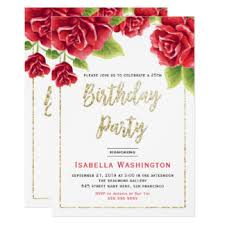 gold red flowers birthday invitations u0026 announcements zazzle