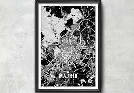 Madrid Spain Map Madrid Spain Map With Coordinates Madrid Wall Art Madrid