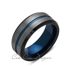 mens wedding bands that don t scratch blue tungsten wedding band gray brushed tungsten ring 8mm