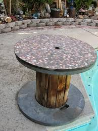 outdoor tables made out of wooden wire spools larger penny table made using a large wire spool wire spool
