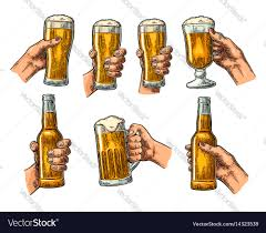 beer vector man and woman hands holding clinking with beer vector image