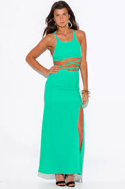 two dress set shop mint green high slit crepe evening cocktail party maxi two