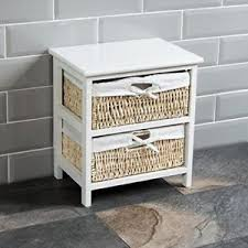 white wicker basket storage unit 2 drawer small wooden bathroom