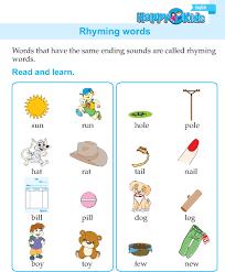 kindergarten english rhyming words preschool and kindergarten