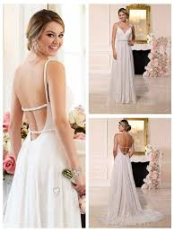 beaded straps and sweetheart neckline low open back wedding dress