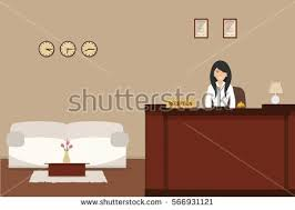 Desk Hotel Hotel Reception Young Woman Receptionist Stands Stock Vector