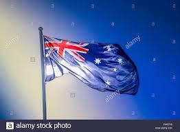 australian national flag waving in the wind melbourne australia