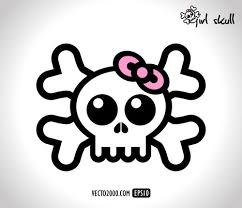 skull ribbon skull girl with pretty pink ribbon vector free vector images