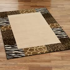 Area Rugs Beige Safari Collage Animal Print Border Area Rugs