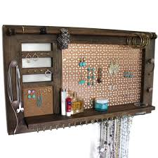 ultimate all in one jewelry holder wooden wall hanging jewelry shelf