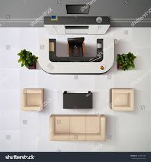 top view realistic reception office interior stock vector