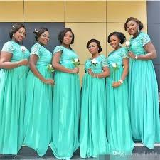 nigeria african mint green cheap bridesmaid dresses lace applique