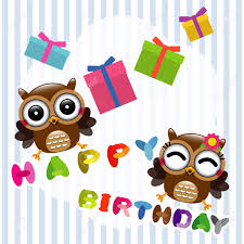 happy birthday card with cute owls royalty free cliparts vectors