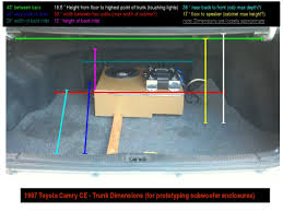 toyota camry trunk diy 1997 camry trunk dimensions for subwoofers toyota nation