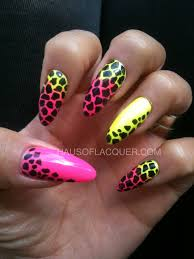 neon giraffe nails by hausoflacquer simply stilettos nails