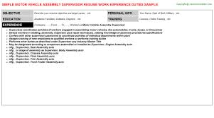 Assembly Resume Sample by Connected Vehicle Resumes Samples