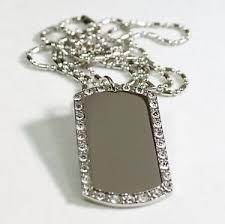 engraved dog tag necklace silver tone cz bling iced out custom dog tag necklace ebay