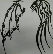 tribal angel and demon wings by violetsilverfang on deviantart