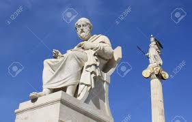 neoclassical statues of plato greek ancient philosopher and