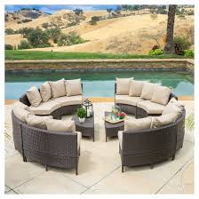 newton 10pc wicker patio lounge set dark brown with taupe