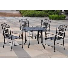 wrought iron chairs patio amazon com international caravan mandalay iron outdoor patio