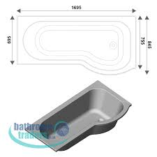online bathroom store modern p shape curved bath 1700 including