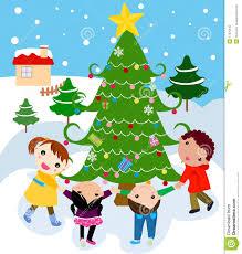 children around a beautiful festive tre stock vector