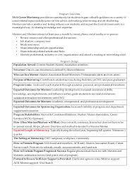 Job Shadowing Resume by Saa Career Mentoring Program Outline