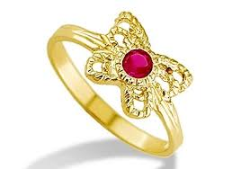 Childrens Rings New 14k Yellow Gold Child Kids Butterfly Red Cz Ring Children U0027s