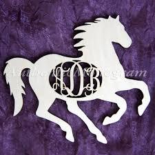 monogram letters home decor horse decor wooden horse silhouette 3 letter unpainted monogram
