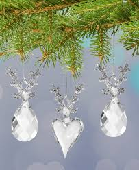 reindeer ornaments set of 3 glass reindeer
