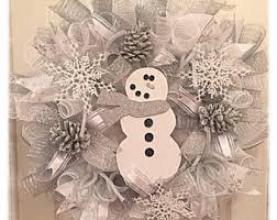 White Deco Mesh Snowflake Deco Mesh Christmas Wreath Winter By Whispercreekwreaths