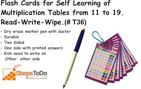 11 Multiplication Table T35 Flash Cards For Self Learning Of Multiplication Tables From
